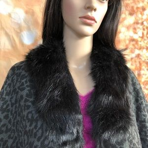 Bebe Animal Print Faux FurCollared  Ruana